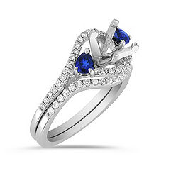 Swirl Pear Shaped Sapphire and Round Diamond Wedding Set