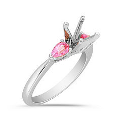 Three-Stone Pear Shaped Pink Sapphire Engagement Ring