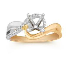 Round Diamond Ring in Two-Tone Gold