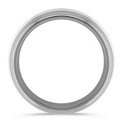 Titanium and Sterling Silver Comfort Fit Ring (8mm)