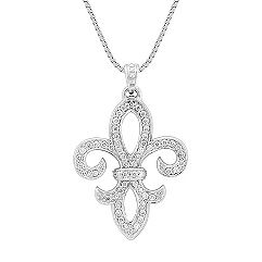 Fleur-De-Lis Pendant with Round Diamonds (18 in.)