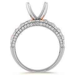 Round Diamond Engagement Ring in 14k White and Rose Gold