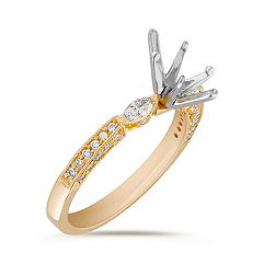 Marquise and Round Diamond 18k Gold Engagement Ring