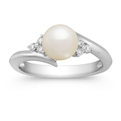 7mm Cultured Akoya Pearl and Round Diamond Ring