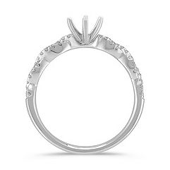Swirl Diamond Engagement Ring with Pavé Setting