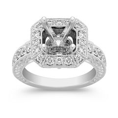 Halo Vintage Diamond Platinum Engagement Ring with Pave Setting