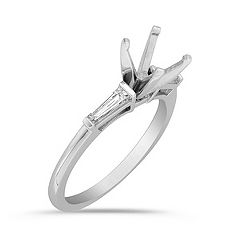 3-Stone Baguette Cut Diamond Engagement Ring with Channel Setting