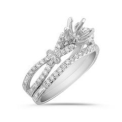 Vintage Diamond Wedding Set with Pave Setting
