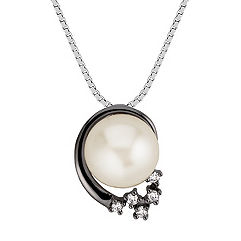 9mm Cultured Freshwater Pearl and Round Diamond Pendant (18 in.)