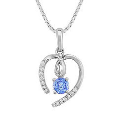 "Round Kentucky Blue Sapphire and Diamond Heart Pendant (18"")"