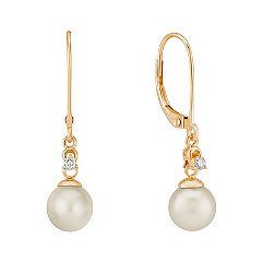 7mm Cultured Akoya Pearl and Round Diamond Earrings