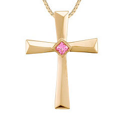 Princess Cut Pink Sapphire Cross Pendant (18 in.)