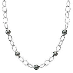 9mm Cultured Tahitian Pearl and Sterling Silver Necklace (24 in.)