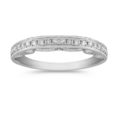 Pave Set Vintage Diamond Anniversary Band in Platinum