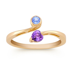 Heart-Shaped and Round Multi-Colored Sapphire Ring
