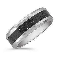 Cobalt and Carbon Fiber Comfort Fit Ring (8mm)