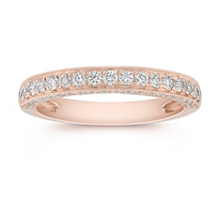 Diamond Pave Set Anniversary Band in Rose Gold