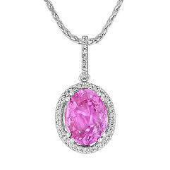 Oval Pink Sapphire and Round Diamond Pendant in 18k White Gold (18 in.)