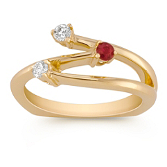 Round Ruby and Diamond Ring