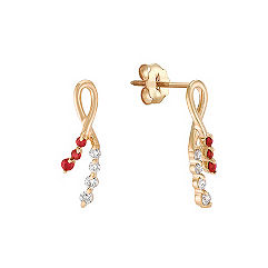 Round Ruby and Diamond Earrings