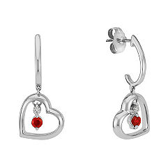 Round Ruby and Diamond Heart Earrings
