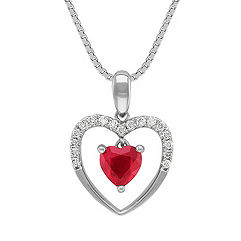 Heart-Shaped Ruby and Diamond Heart Pendant (18 in.)