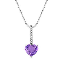 Heart-Shaped Lavender Sapphire and Round Diamond Pendant (18 in.)