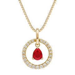 Pear Shaped Ruby and Diamond Pendant