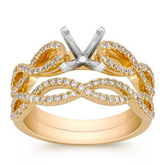 Round Diamond Wedding Set in 18k Gold