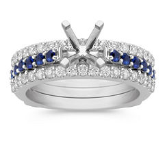 Round Sapphire and Diamond Wedding Set with Pavé Setting for Her