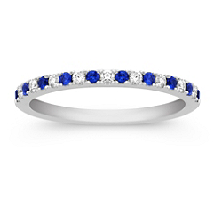 Round Sapphire and Diamond Anniversary Band