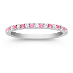 Pink Sapphire and Diamond Ring with Pave Setting