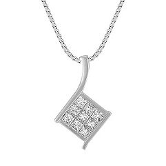 Princess Cut Diamond Pendant (18 in.)
