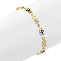 Round Sapphire and Diamond Bracelet (7 in.)