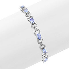 Oval Ice Blue Sapphire and Diamond Bracelet (7 in.)