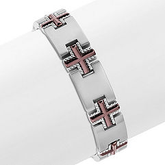 Stainless Steel Cross Bracelet (9 in.)