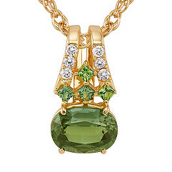 Oval and Princess Cut Green Sapphire, and Round Diamond Pendant (18 in.)