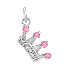 Round Pink Sapphire and Diamond Crown Charm