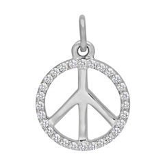 Round Diamond Peace Symbol Charm