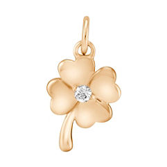 Round Diamond Four Leaf Clover Charm