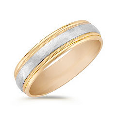 14k Two-Tone Gold Comfort Fit Wedding Band (6mm)