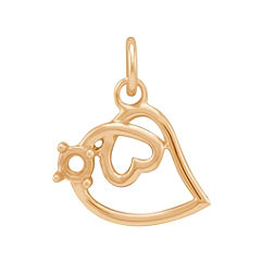 14k Yellow Gold Double-Heart Charm