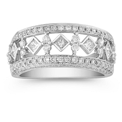 Princess Cut and Round Diamond Ring