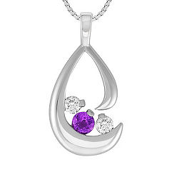 Round Lavender Sapphire and Diamond Three-Stone Pendant (18 in.)