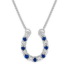 "Round Sapphire and Diamond Horseshoe Pendant (18"")"