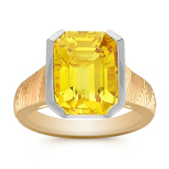 Emerald Cut Yellow Sapphire Ring in Two-Tone Gold