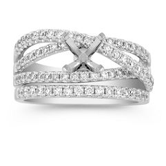 Diamond Wedding Set with Pavé Setting