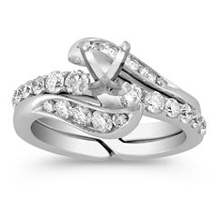 Swirl Diamond Wedding Set with Channel Setting for Her