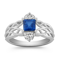 Square Cut Sapphire and Half Moon Diamond Ring