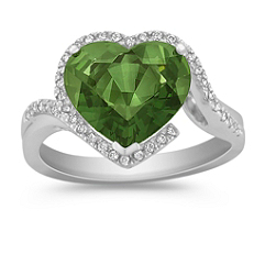 Heart Shaped Green Sapphire and Round Diamond Ring
